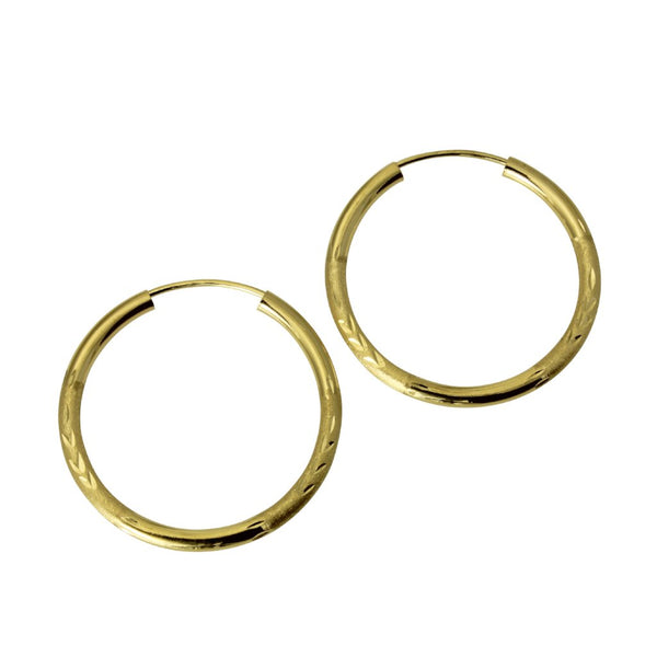 "14K Real Yellow Gold 2mm Thickness Diamond Cut Satin Polished Endless Hoop Earrings 23 mm?? ( 15/16"" )"