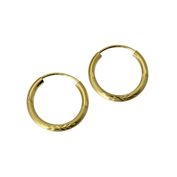 "14K Real Yellow Gold 2mm Thickness Diamond Cut Satin Endless Small Hoop Earrings 13 mm ( 1/2"" )"