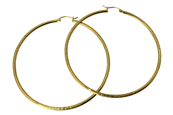 14K Real Yellow Gold 2mm Thickness Diamond Cut Satin Polished Large Hoop Earrings