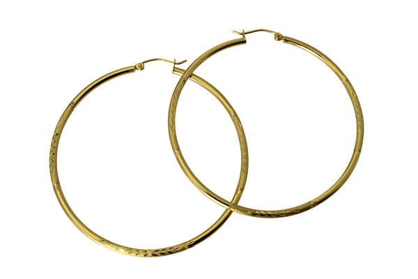 14K Real Yellow Gold 2mm Thickness Diamond Cut Large Satin Polished Hoop Earrings