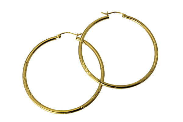 14K Real Yellow Gold 2mm Thickness Diamond Cut Satin Polished Hoop Earrings