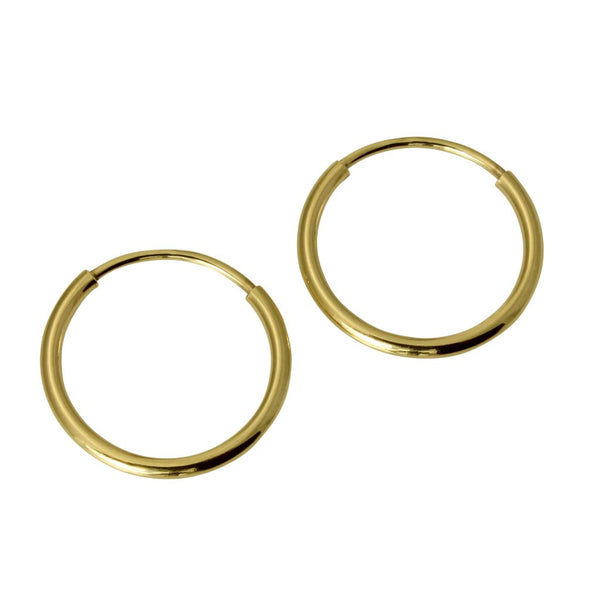 "14K Real Yellow Gold 1mm Thickness Polished Classic Endless Hoop Small Earrings 10 mm?? ( 3/8"" )"