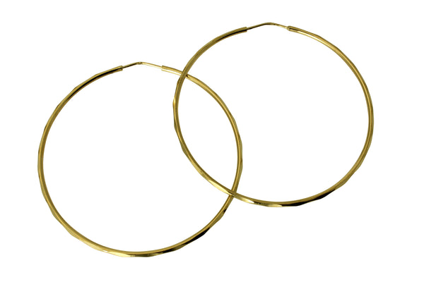 "14K Real Yellow Gold 1.5mm Thickness High Polished Facetada Endless Hoop Earrings 47 mm?? ( 1 7/8"" )"