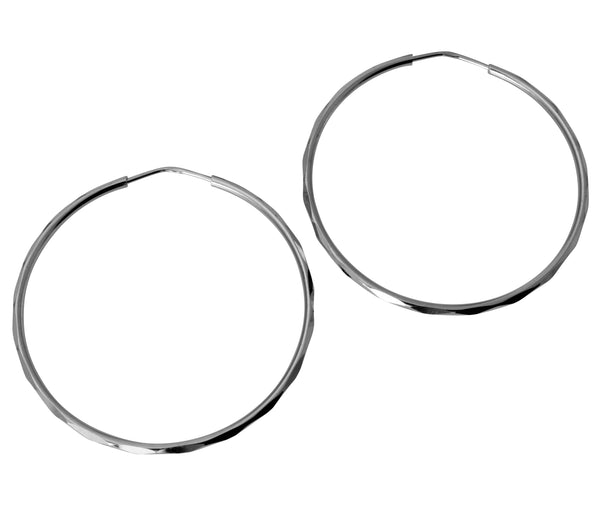 14K Real White Gold 1.5mm Thickness High Polished Facetada Endless Hoop Earrings