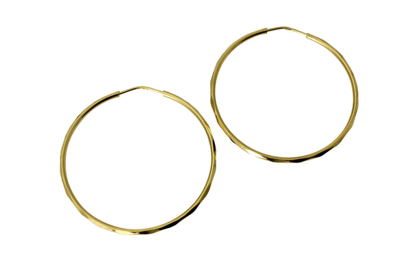 "14K Real Yellow Gold 1.5mm Thickness High Polished Facetada Endless Hoop Earrings 32 mm?? ( 1 1/4"" )"