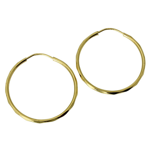 "14K Real Yellow Gold 1.5mm Thickness Polished Facetada Endless Hoop Earrings 23 mm?? ( 15/16"" )"