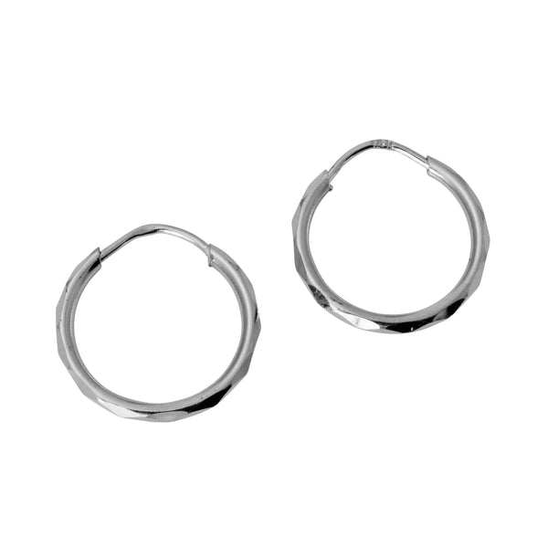 14K Real White Gold 1.5mm Thickness High Polished Facetada Endless Hoop Small Earrings