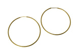 "14K Real Yellow Gold 1mm Thickness Diamond-cut Endless Hoop Earrings 35mm (1 3/8"")"