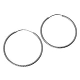 "14K Real White Gold 1mm Thickness Diamond cut Endless Hoop Earrings 25mm (1.0"")"