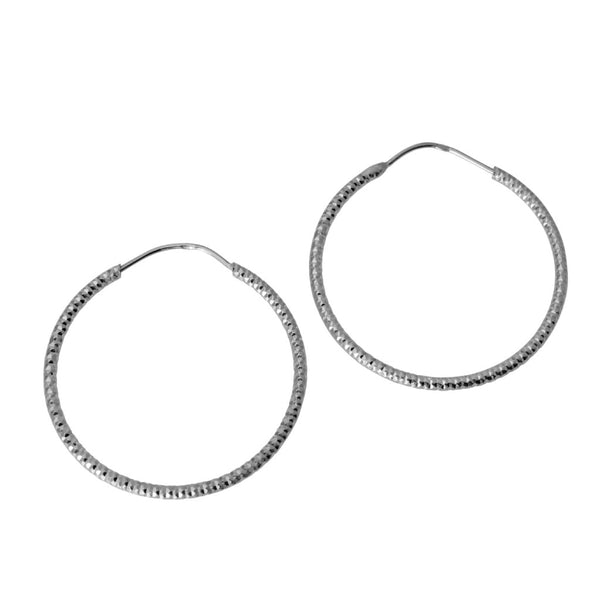 "14K Real White Gold 1mm Thickness Small Diamond Cut Endless Hoop Earrings 20mm ( 3/4"" )"