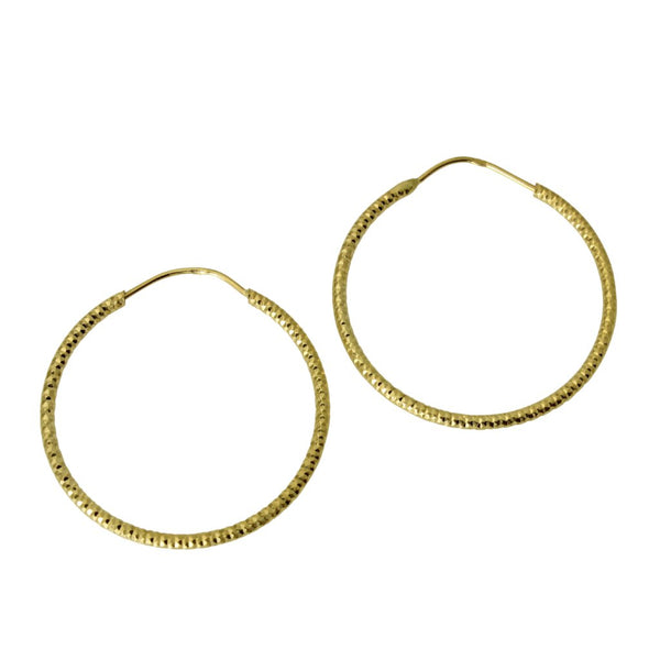 "14K Real Yellow Gold 1mm Thickness Small Diamond Cut Endless Hoop Earrings 20mm ( 3/4"" )"