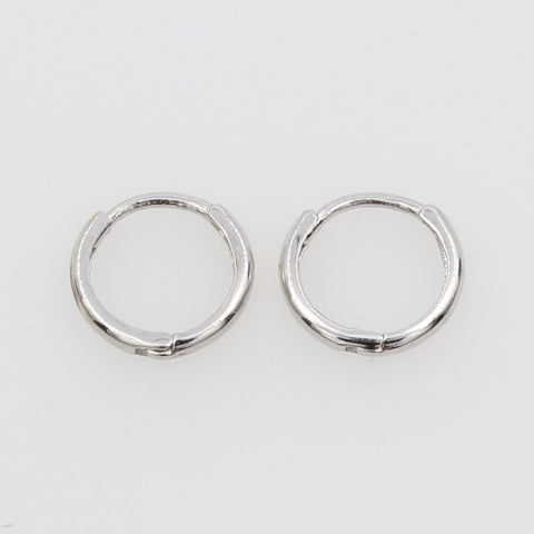 14K Real White Gold 1.5mm Thickness Tiny Huggies Earrings for Baby & Children