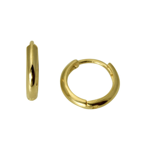 14K Real Yellow Gold 2mm Thickness Small Huggies Earrings for Baby & Children