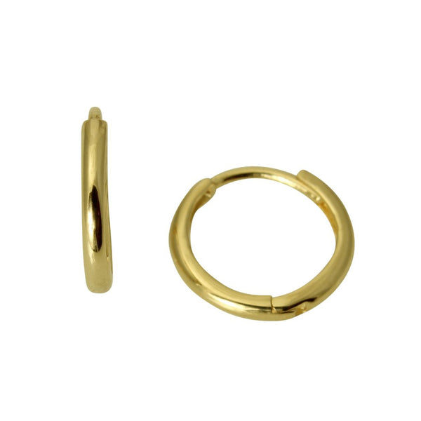 14K Real Yellow Gold 2mm Thickness Small Round Huggies Earrings