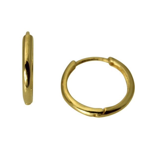14k Real Yellow Gold 2mm Thickness Round Small Hoop Huggies Earrings