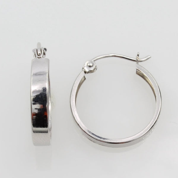 14K Real White Gold 3mm Thickness Round Polished Small Hoop Huggies Earrings
