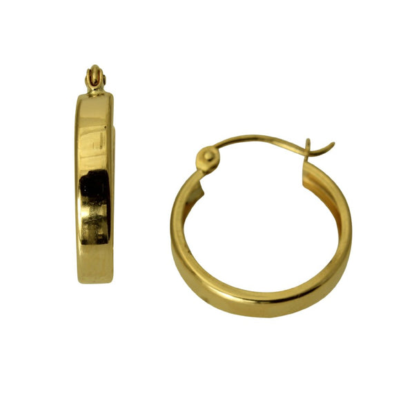 14K Real Yellow Gold 2mm Thickness Round Polished Hoop Huggies Earrings