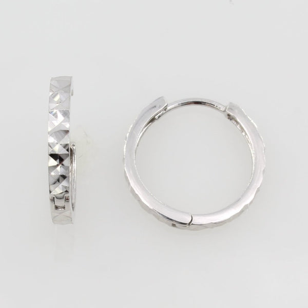 14K Real White Gold 2mm Thickness Multifaceted Polished Square Hoop Small Huggies Earrings