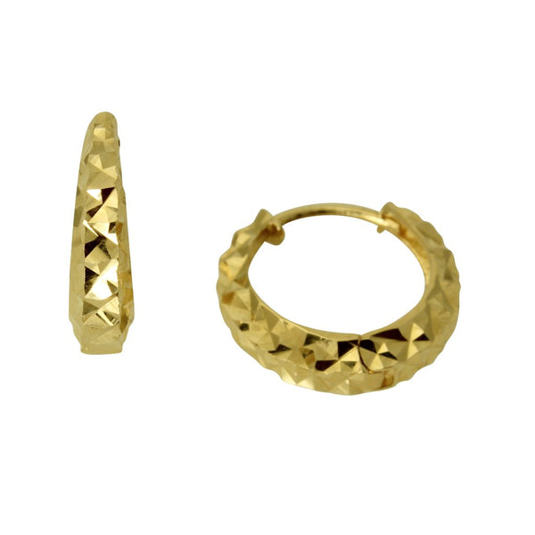 14K Real Yellow Gold 3mm Thickness Multifaceted Polished Hoop Huggies Earrings