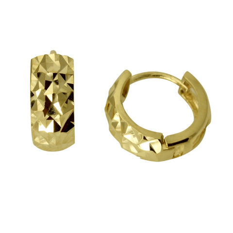 14K Real Yellow Gold 5mm Thickness Multifaceted Polished Round Hoop Huggies Earrings