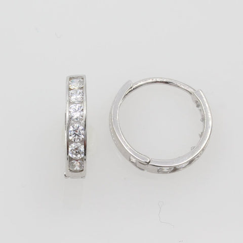 14K Real White Gold 2mm Thickness 6 Stone Cubic Zirconia Channel Set Polished Hoop Huggies Earrings
