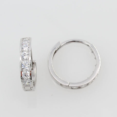 14K Real White Gold 2mm Thickness 7 stone Channel Set Polished Small Hoop Huggies Earrings