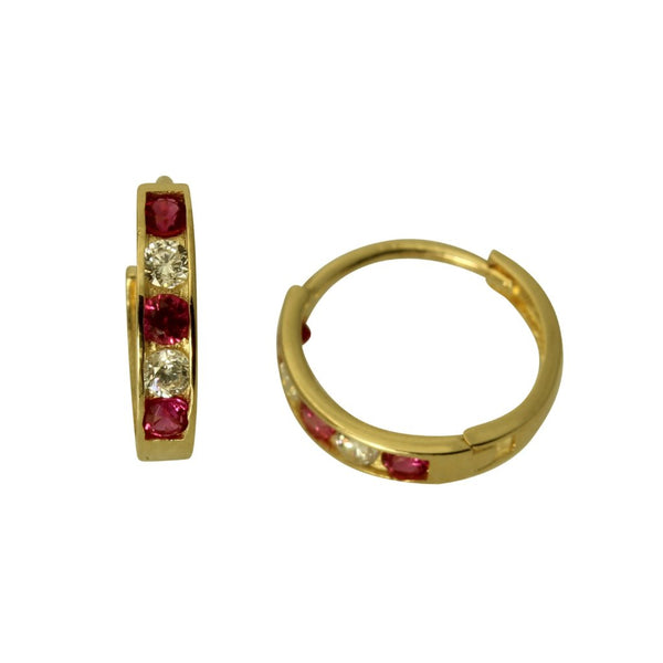 14K Real Yellow Gold 2mm Thickness 5 Stone Red Cubic Zirconia Polished Small Hoop Huggies Earrings