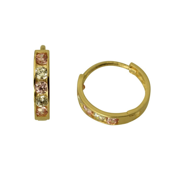 14K Real Yellow Gold 2mm Thickness 5 Stone Pink Cubic Zirconia Polished Small Hoop Huggies Earrings