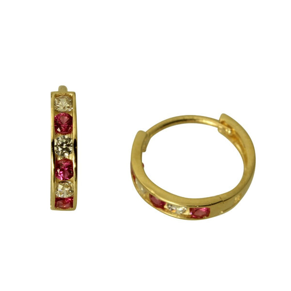 14K Real Yellow Gold 2mm Thickness 6 Stone Red Cubic Zirconia Polished Hoop Huggies Earrings