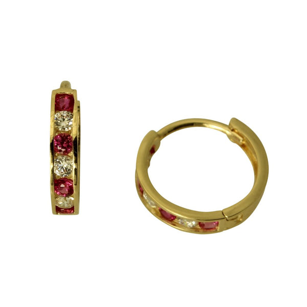 14K Real Yellow Gold 2mm Thickness 7 stone Red Cubic Zirconia Polished Hoop Huggies Earrings