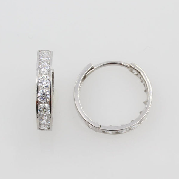 14K Real White Gold 3mm Thickness 8 Stone Set Polished Hoop Huggies Earrings