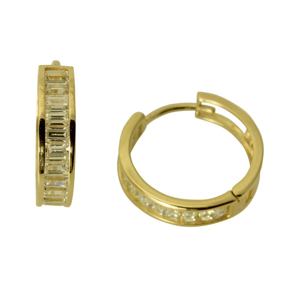 14K Real Yellow Gold 3mm Thickness Baguette Set Polished Hoop Huggies Earrings