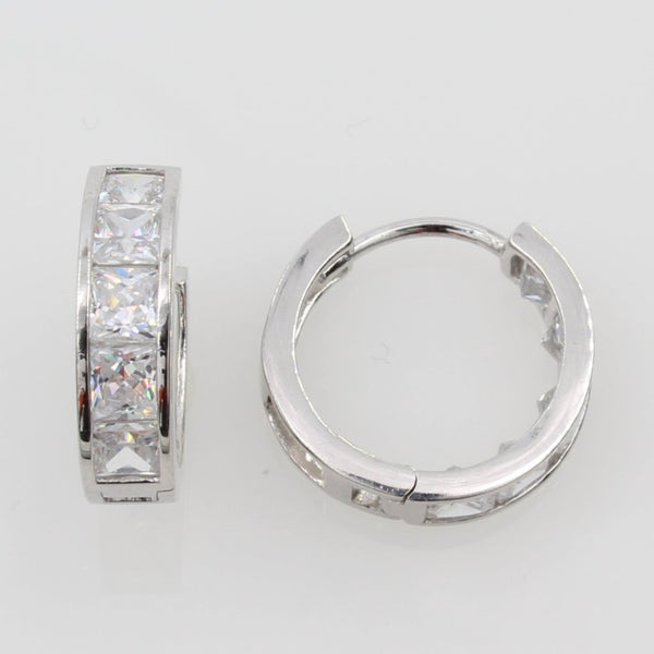 14K Real White Gold 4mm Thickness Princess 6 Stone Set Cubic Zirconia Polished Hoop Huggies Earrings