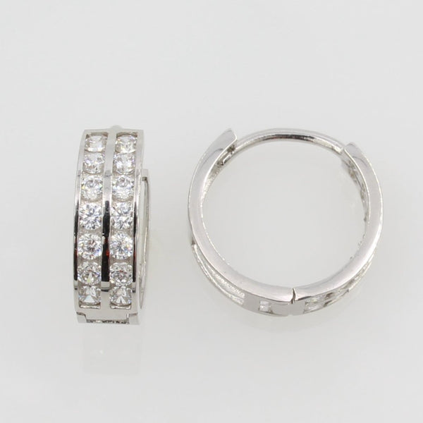 14K Real White Gold 4mm Thickness 2 Lines 14 Stone Cubic Zirconia Small Hoop Huggies Earrings