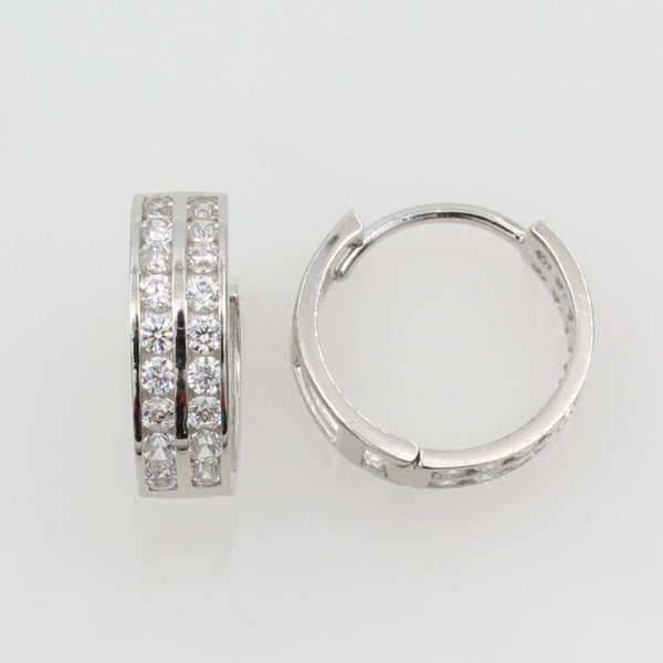 14K Real White Gold 4mm Thickness 2 Tier 16 Stone Cubic Zirconia Polished Hoop Huggies Earrings
