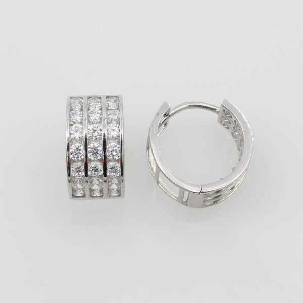 14K Real White Gold 7mm Thickness 3 Tier Cubic Zirconia 21 Stone Polished Hoop Huggies Earrings