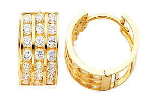 14K Real Yellow Gold 7mm Thickness 3 Tier 21 Stone Cubic Zirconia Polished Hoop Huggies Earrings