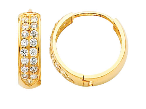 14K Real Yellow Gold 4mm Thickness 16 Stone Cubic Zirconia Round Polished Hoop Huggies Earrings