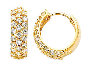 14K Real Yellow Gold 4mm Thickness 25 Stone 3 Line Cubic Zirconia Round Hoop Earrings