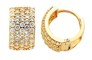 14K Real Yellow Gold 8mm Thickness Cluster Cubic Zirconia Round Hoop Huggies Earrings