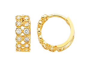 14K Real Yellow Gold 4mm Thickness 12 Stone Cubic Zirconia Hoop Huggies Earrings