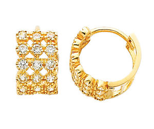 14K Real Yellow Gold 7mm Thickness 3 Line 12 Stone Cubic Zirconia Hoop Huggies Earrings
