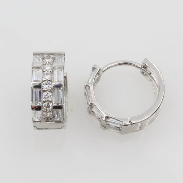 14K Real White Gold 5mm Thickness Baguette Cubic Zirconia Round Hoop Huggies Earrings