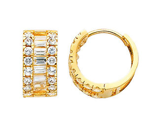 14K Real Yellow Gold 7mm Thickness 3 Line Baguette Round Cubic Zirconia Huggies Earrings
