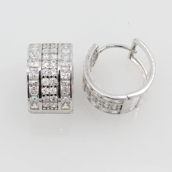 14K Real White Gold 10mm Thickness Princess Round Cubic Zirconia Hoop Huggies Earrings