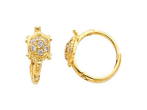 14K Real Yellow Gold Turtle Cubic Zirconia Small Huggies Earrings for Baby and Children