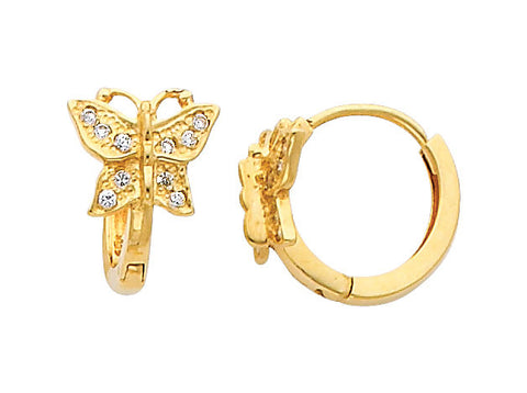 14K Real Yellow Gold Butterfly Cubic Zirconia Small Huggies Earrings for Baby and Children
