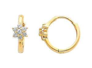 14K Real Yellow Gold Flower Cubic Zirconia Small Huggies Earrings for Baby and Children