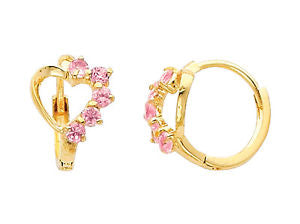 14K Real Yellow Gold Heart Pink Cubic Zirconia Small Huggies Earrings for Baby and Children