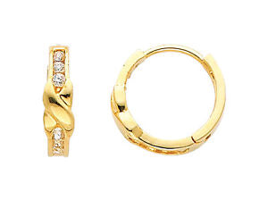 14K Real Yellow Gold Small Round Cubic Zirconia Huggies Earrings for Baby and Children